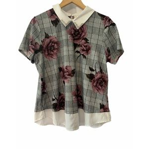 Contrast Collar And Hem Floral Plaid Top Size XL